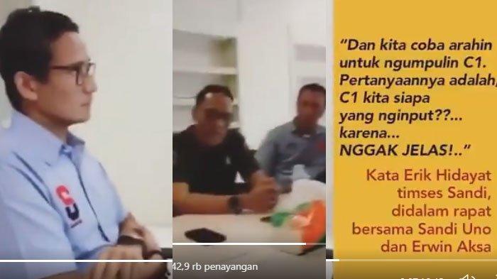 Viral, Video Rapat Sandiaga dengan Tim Pemenangan, Bahas Penginputan C1 yang Tidak Jelas