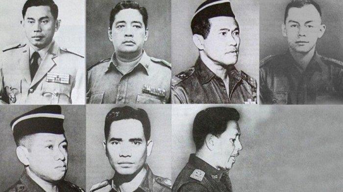 potret para jenderal dan perwira yang dibunuh dalam g30s pki