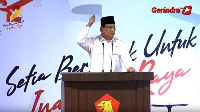 Prabowo Subianto dalam acara HUT Gerindra ke-12 di Halaman Kantor DPP Partai Gerindra - Ragunan, Jakarta Selatan, Kamis (6/2/2020)