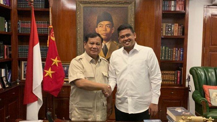 Prabowo Subianto dan Bobby Nasution, Sabtu (28/12/2019).