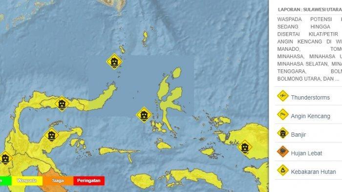 prakiraan cuaca di Sulawesi Utara Rabu 14 Juli 2021