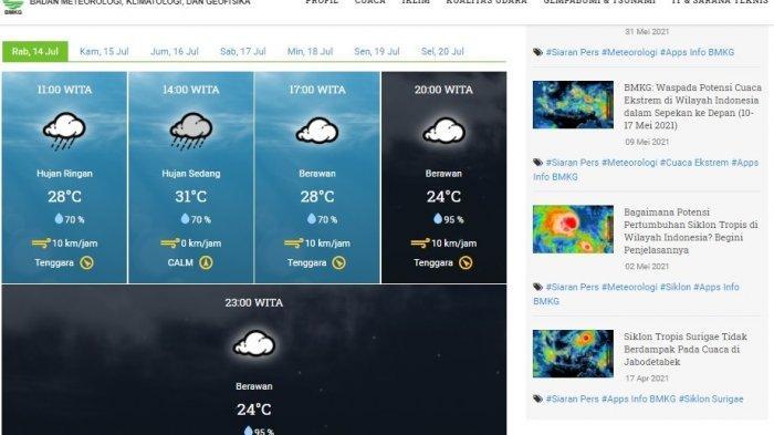 Prakiraan Cuaca Sulawesi Utara Rabu (14/7/2021), BMKG: 4 Daerah Berpotensi Hujan Sedang hingga Lebat