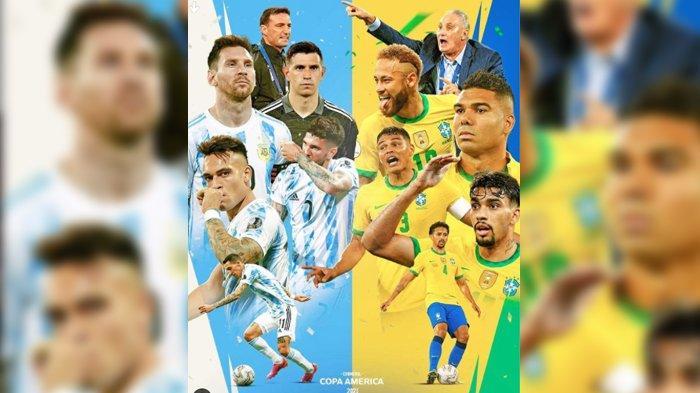 LIVE STREAMING Brasil vs Argentina di Indosiar, Aksi Lionel Messi di Final Copa America 2021