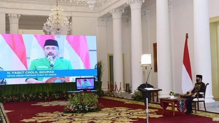 Presiden Joko Wododo membuka Konferensi Besar (Konbes) XXIII Gerakan Pemuda Ansor, 18 - 20 September 2020 di Mercure Hotel, Tateli, Minahasa, Sulawesi Utara. Pembukaan secara virtual dari Istana Kepresidenan Bogor, Provinsi Jawa Barat (18/9/2020).