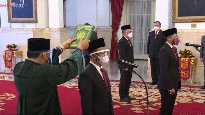 Presiden Jokowi resmi lantik 2 menteri nomenklatur baru, Nadiem Makarim sebagai Mendikbud Ristek dan Bahlil Lahadaila sebagai Menteri Investasi.
