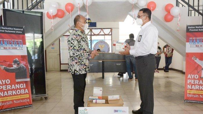 PT PLN (Persero) Unit Induk Wilayah Suluttenggo memberikan bantuan untuk Program Dukungan Rehabilitasi Bagi Para Pecandu Narkoba kepada Badan Nasional Narkotika Provinsi (BNNP) Sulawesi Utara.