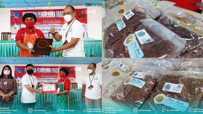 PT.PLN (Persero) Unit Induk Wilayah Suluttenggo memberikan bantuan Pelatihan dan Peralatan Masak Elektronik kepada Kelompok Ibu Rumah Tangga dan Nelayan Desa Kalinaun, Likupang, Minahasa Utara.