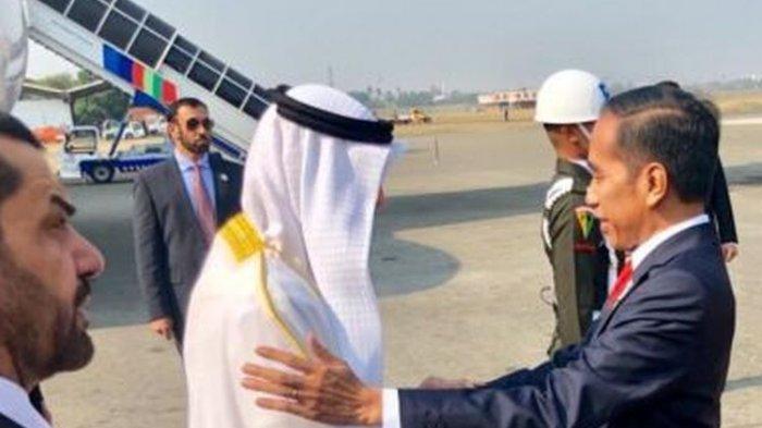 Presiden Joko Widodo menyambut kedatangan Putra Mahkota Abu Dhabi, Sheikh Mohamed Bin Zayed Al Nahyan, di Bandara Internasional Soekarno-Hatta, Rabu (24/7/2019).