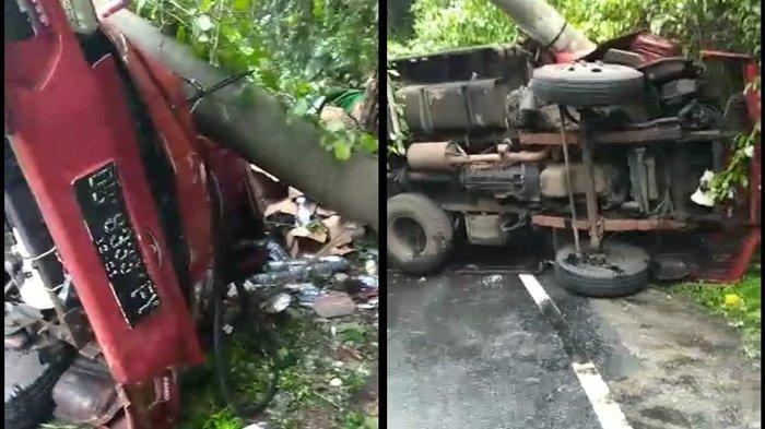 BREAKING NEWS - Kecelakaan di Tanjakan Munte Minsel, Truk Bermuatan Air Mineral Tabrak Tiang Listrik