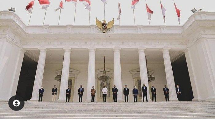 Raffi Ahmad bertemu Presiden Jokowi di Istana Negara. Tampak berfoto bersama tokoh-tokoh lainnya. Disebut jadi calon menteri oleh netizen.