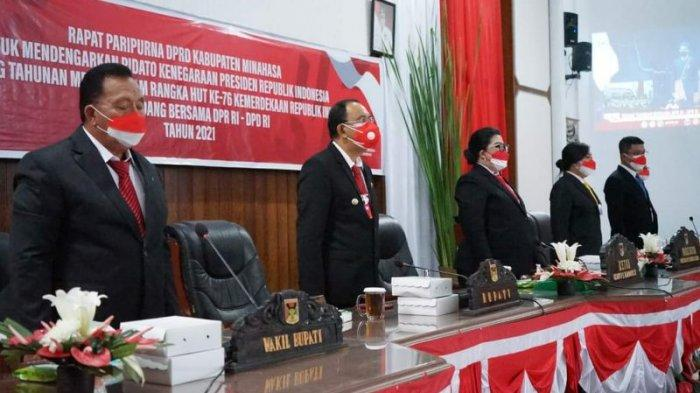 Dipimpin Ketua DPRD, Eksekutif dan Legislatif Minahasa Dengarkan Pidato Presiden
