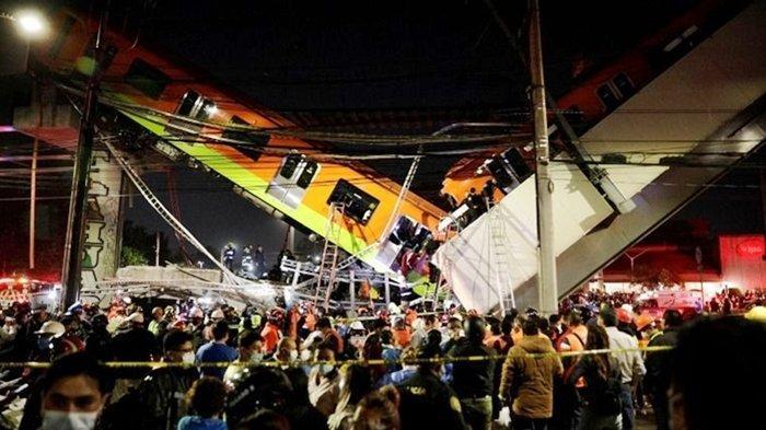 Kecelakaan Maut, Terekam CCTV Kereta Api Jatuh, Rel Jembatan Ambruk, 23 Korban Tewas, Ini Videonya
