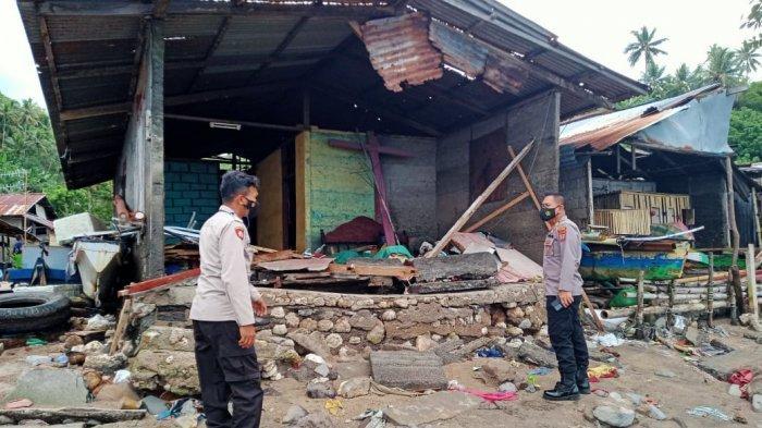 Lima Rumah di Pulau Lembeh Selatan Bitung Rusak Dihantam Gelombang Pasang