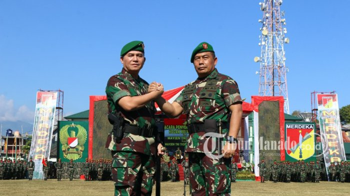 Salam komando Mayjen Madsuni dan Pangdam Mayjen Tiopan Aritonang, Jumat (27/07/2018).