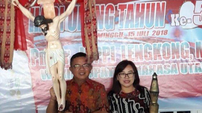 HUT ke-57, Wakil Bupati Minut Joppy Lengkong dan Istri Cium Salib Yubileum