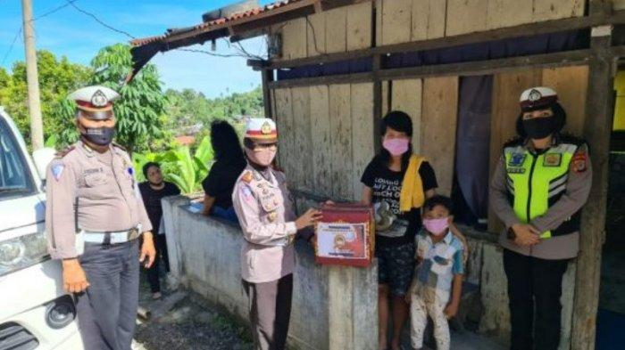 Satlantas Polres Minahasa Kembali Salurkan Bansos Kepada Warga Terdampak Covid-19