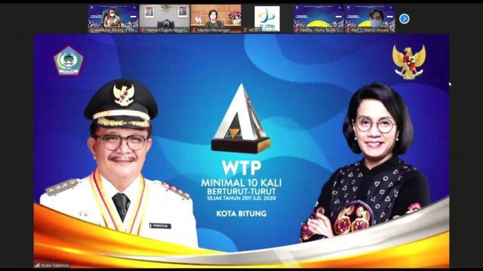 Menteri Keuangan Sri Mulyani, Serahkan WTP ke Maurits – Hengky Wali Kota dan Wawali Bitung