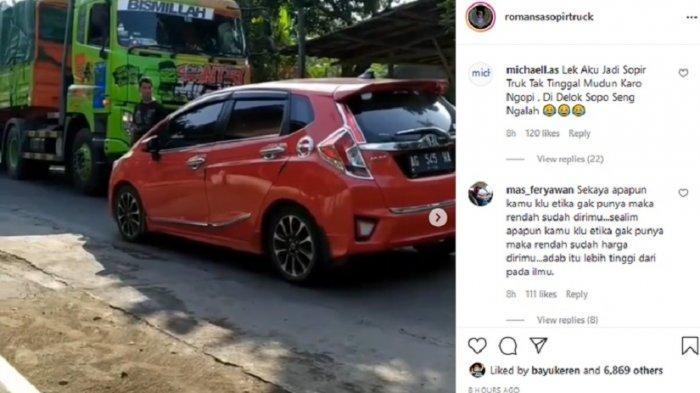 Viral Video Truk Terhalang Honda Jazz, Stop di Tengah Jalan, Padahal Masih Luas