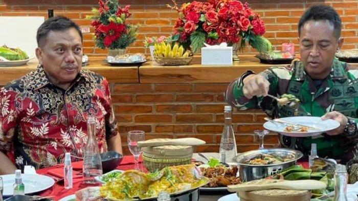 Secara khusus Gubernur Sulut Olly Dondokambey didampingi istri Rita Maya Tamuntuan menjamu makan malam Jenderal <a href='https://manado.tribunnews.com/tag/andika-perkasa' title='AndikaPerkasa'>AndikaPerkasa</a> dan istrinya Diah Erwiany Hendropriyono.