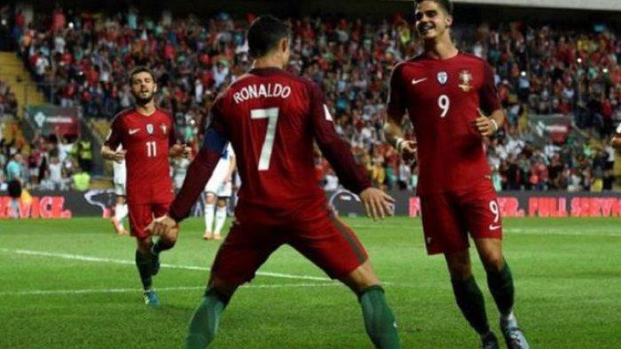 CR7 selebrasi usai mencetak gol untuk Tim Portugal menjamu Kepulauan Faroe dalam lanjutan pertandingan Kualifikasi Piala Dunia 2018 zona Eropa, Jumat (1/9/2017) dini hari WIB.