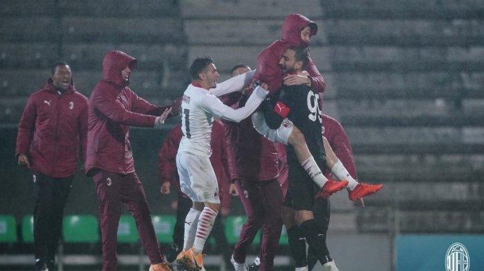 Selebrasi perayaan kemenangan AC Milan atas Rio Ave, Jumat (2/10/2020) di babak play-off Liga Eropa.