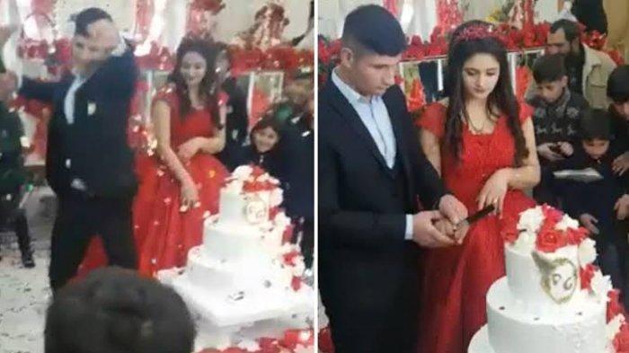 VIRAL, Pengantin Pria Hancurkan Kue Pernikahan Gara-gara Pisau Terlepas di Tangan, Tonton Videonya