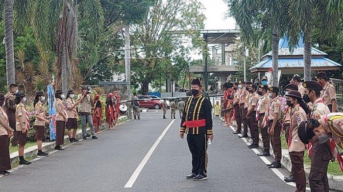 Situasi kantor wali kota Bitung jelang pelaksanaan kegiatan upacara penghormatan terakhir ke mendiang SH Sarundajang