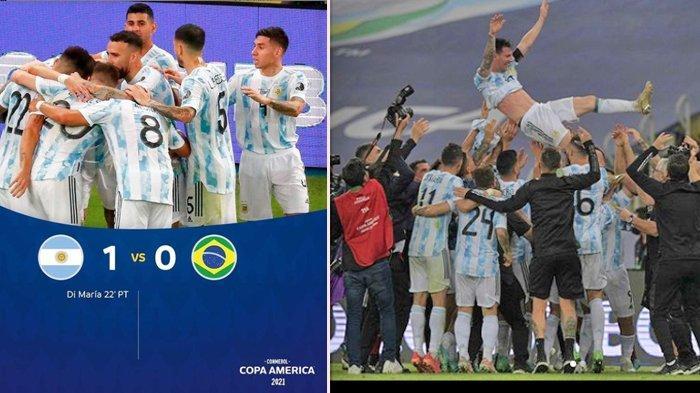 Hasil Argentina vs Brasil: Gol Di Maria di Menit 22 Antar Argentina Juara Copa America 2021