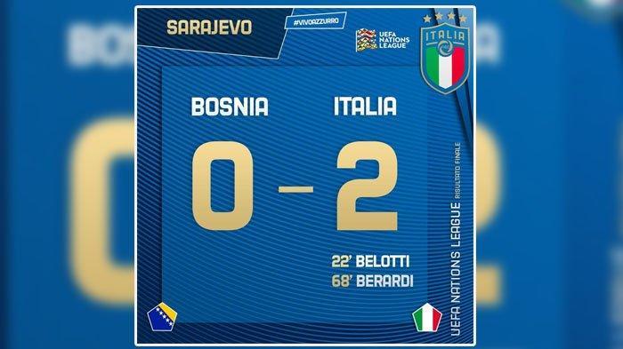 SKOR Bosnia VS Italia, UEFA Nations League Kamis 19 November 2020