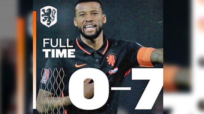 Hasil Kualifikasi Piala Dunia 2022 - Dalam Waktu 10 Menit Belanda Cetak 4 Gol, Ronaldo Puasa Gol
