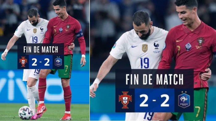 Hasil Akhir Portugal VS Prancis, Skor 2-2, Cristiano Ronaldo dan Karim Benzema Cetak 2 Gol
