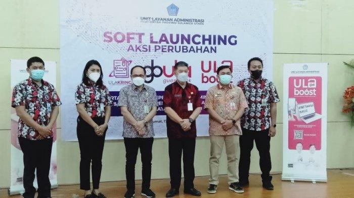 Gubernur Sulawesi Utara (Sulut) Olly Dondokambey diwakili Asisten III Pemprov Sulut Asiano Gemmy Kawatu melakukan Soft Launching 3 proyek layanan administrasi