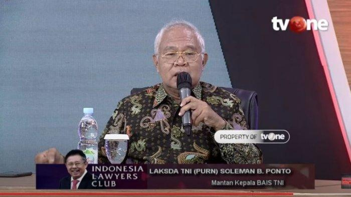 Mantan Kepala BAIS TNI Laksda TNI (Purn) Soleman B. Ponto menceritakan curhatan para bintara dan tamtama yang menemuinya terkait posisi para perwira tinggi polisi di luar institusi Polri, ditayangkan di acara ILC, Selasa (1/9/2020).