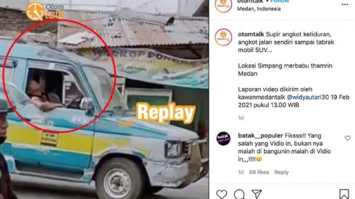 Video Rekaman Sopir Angkot yang Ketiduran, Kendaraan Jalan Sendiri hingga Tabrak Mobil Lain