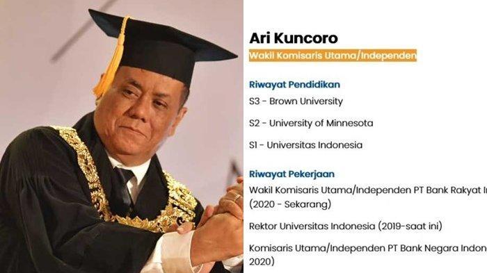 Pantas Ari Kuncoro Rektor UI Bisa Jadi Wakil Komisaris Utama BRI, Jokowi Sudah Ubah Aturannya
