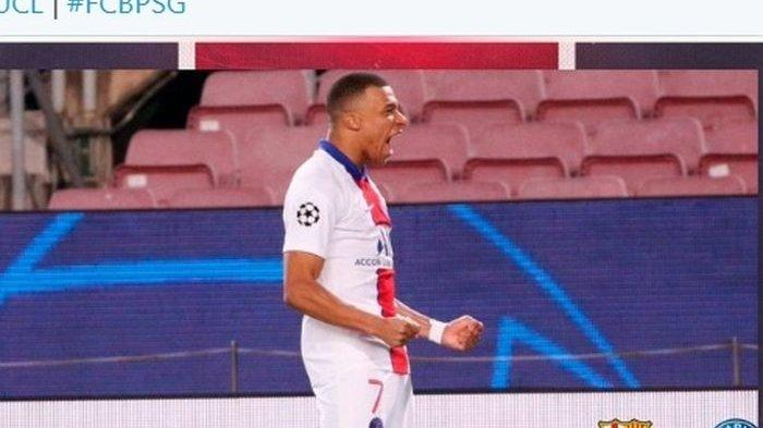 Striker PSG, Kylian Mbappe, mencetak hat-trick ke gawang Barcelona