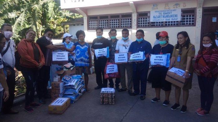 DPRD Sitaro Berikan Bantuan kepada Korban Bencana Karangetang