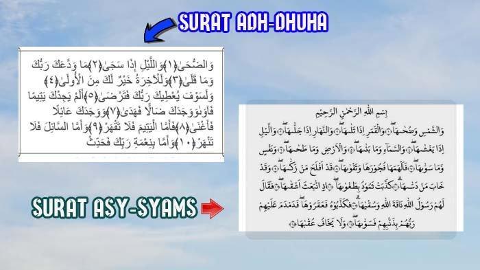 2 Surah yang Sebaiknya Dibaca pada Sholat Dhuha, Berikut Bacaan Lengkap Asy-Syams dan Adh-Dhuha