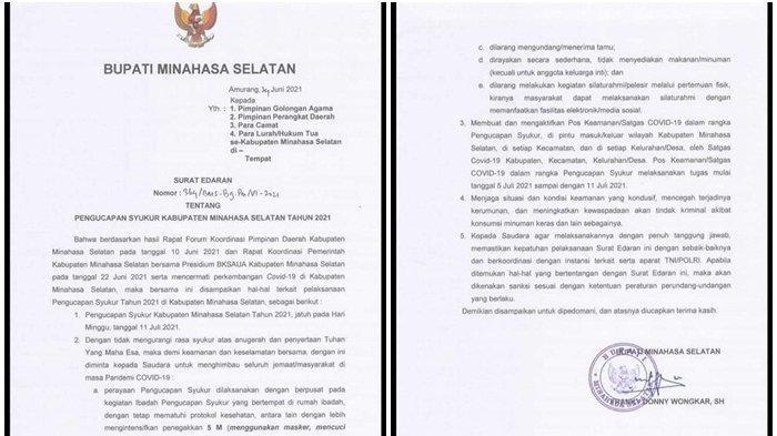 11 Juli Perayaan Pengucapan Syukur Minsel, Dilarang Undang Tamu dan Akan Dibangun Pos Penyekatan