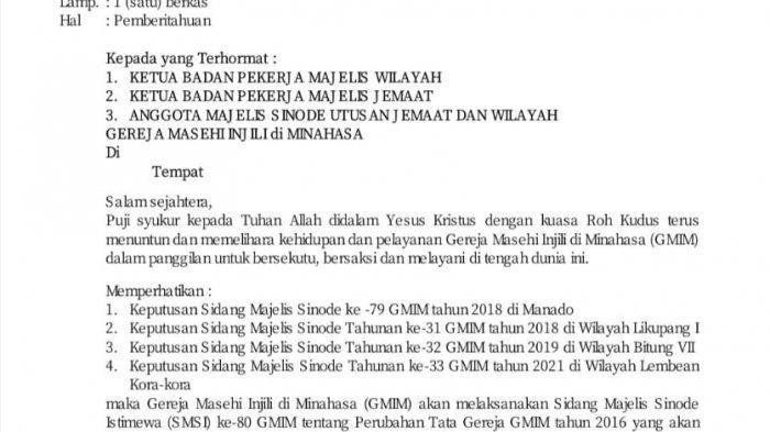 Surat Pemberitahuan diadakannya SMSI ke-80 GMIM