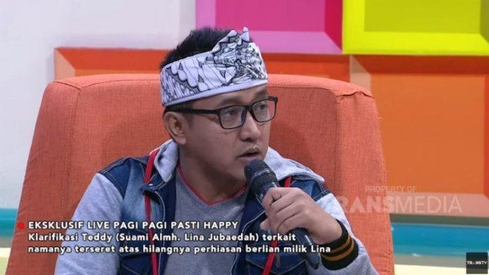 Teddy Pardiyana menjelaskan perhiasan milik Lina Jubaedah hilang setelah ditipu orang, dalam tayangan Pagi-Pagi Pasti Happy, Senin (10/2/2020).