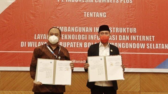 Teken MoU Dengan PT Indonesia Comnets Plus, 81 Desa di Bolsel Segera Terjamah Internet