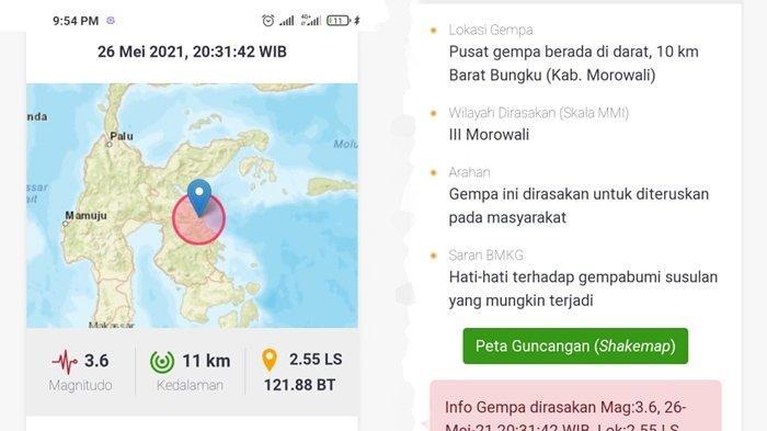 Terjadi Gempa Bumi di Darat Rabu 26 Mei 2021 Malam Ini, Berikut Lokasi dan Magnitudonya