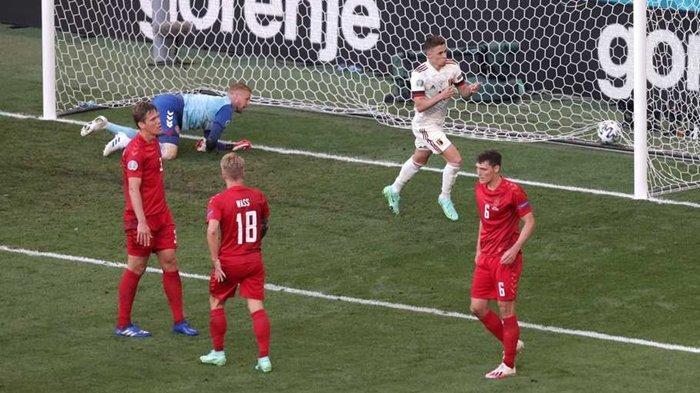Hasil Denmark vs Belgia. Thorgan Hazard mencetak gol penyeimbang setelah menerima assist dari Kevin De Bruyne.