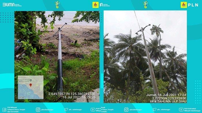 Tiang listrik patah atau roboh akibat cuaca ekstrem di Kabupaten Sitaro.