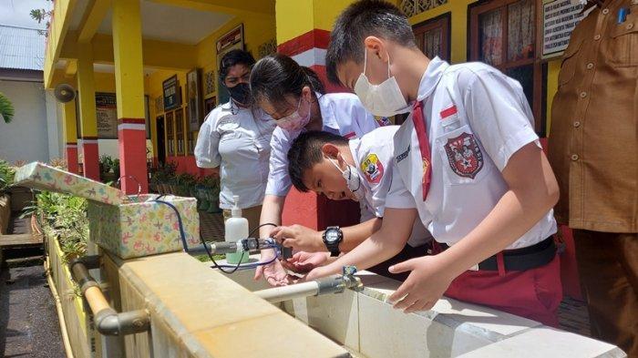 Tiga Pelajar SD di Bitung Ciptakan Mesin Cuci Tangan Tanpa Sentuh, Wakili Sulut Ditingkat Nasional