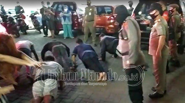 Tim Gabungan Satgas Covid 19 Manado memberikan sanksi push up kepada warga yang tak memakai Masker tadi malam Jumat 11 September 2020 Pukul 21.00 WITA di Jalan Martadinata Paal Dua.