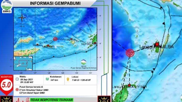 Gempa Terkini Rabu 8 September 2021 Pukul 09.13 WIT, Info BMKG Berkekuatan Magnitudo 5.0 dan 4.2 SR