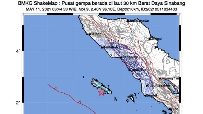 Titik lokasi gempa bumi Selasa dini hari (11/5/2021)