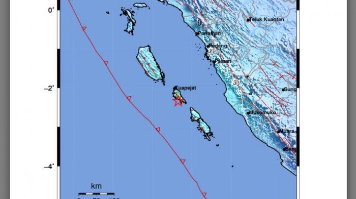 Peta gempa bumi tadi tengah malam.